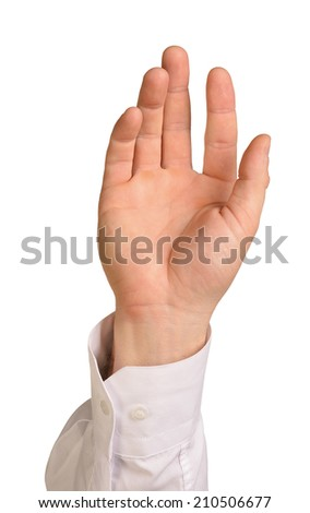 Businessman hand to hold palm gadget