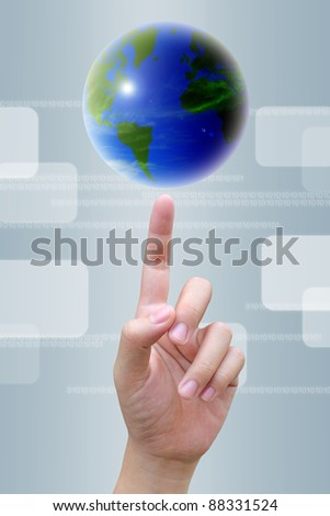 businessman hand to world