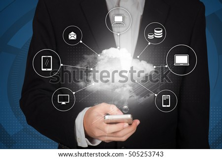 Businessman hand working with a Cloud Computing diagram on the smartphone interface as concept