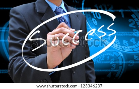 businessman hand writing success