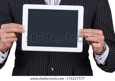 businessman Hands holding mobile smart phone with isolated