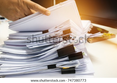busy office stack document on table stock photo 408915409