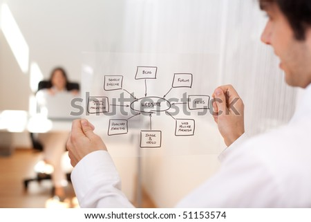 Businessman holding a website schema solution (selective focus with shallow DOF).