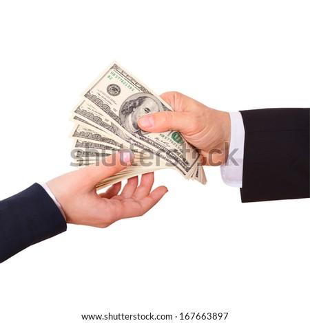 Businessman holding Cash Dollars in the Hands of passing them to the client. Concept of Finance Success. Isolated, space for text