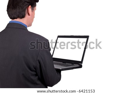Businessman holding his laptop isolated over white with a clipping path