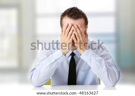 Exhausted Tired Eyes Business Executive Woman Stock Photo