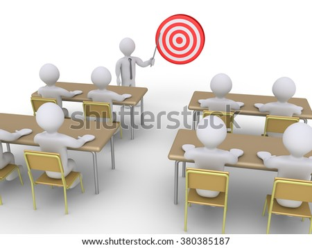 Businessman is presenting a target to students as a seminar