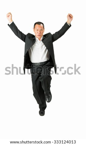 Businessman jump happy  on white background.