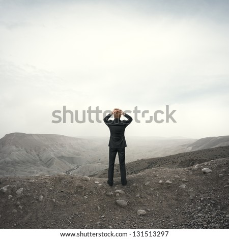 Businessman observing the desert landscape