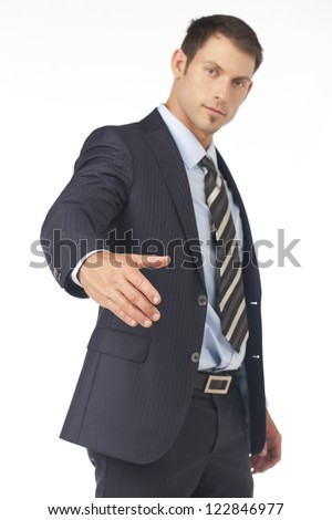 Businessman offering his hand for handshake