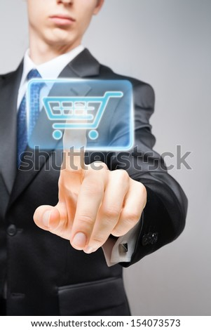 Businessman performing online purchase.