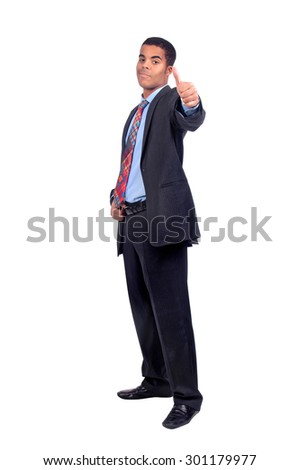 Businessman posing isolated in white