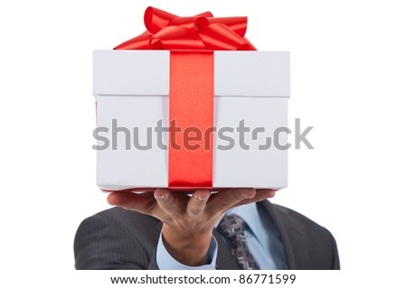 Businessman present gift box isolated over white background, series photo
