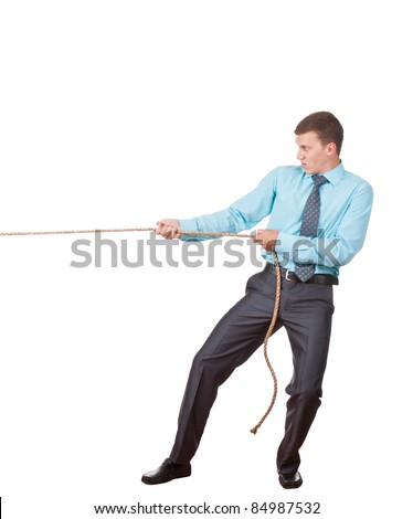 Businessman pulling a rope isolated on white background, series photo