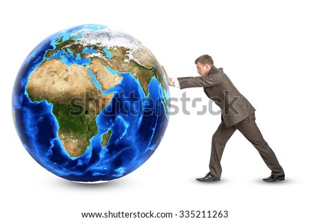 Businessman pushing Earth on isolated white background. Elements of this image furnished by NASA