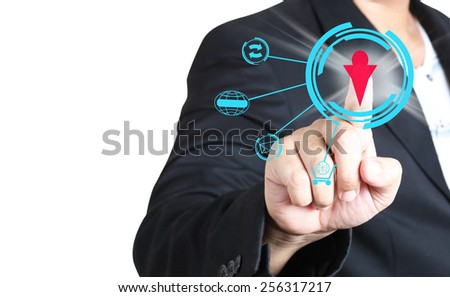 Businessman pushing symbols on  a virtual background , Social network concept