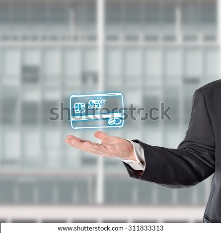 Businessman,salesman presented a virtual symbol in his hand