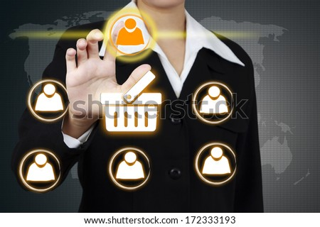 Businessman Select icon person on virtual screen. Concept of market share.