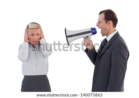 Businessman shouting at colleague with his bullhorn on white background