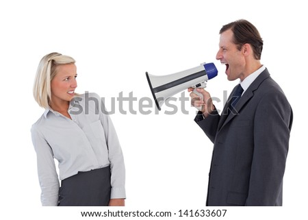 Businessman shouting at colleague with his megaphone on white background
