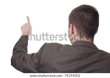 Businessman shows something on white background