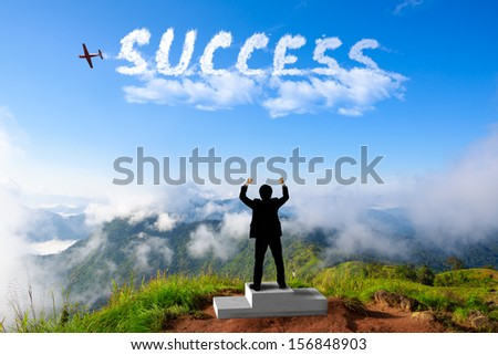 Businessman standing on a winner podium at the mountains, Success in business concept
