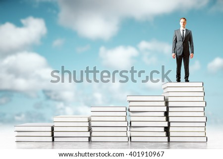 Businessman standing on book stacks in the sky. 3D Rendering
