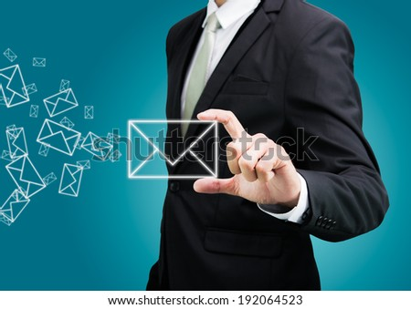 Businessman standing posture hand hold mail icon isolated on over blue background