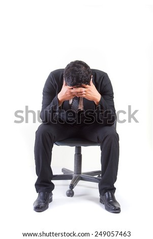 Businessman strain and headaches