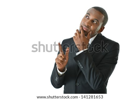 Businessman thinking of solutions and pointing