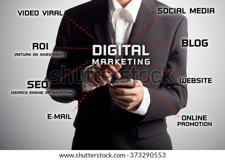 Businessman using a mobile, digital marketing concept