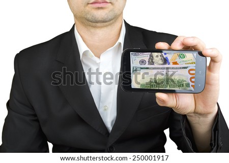 businessman using a smartphone with background