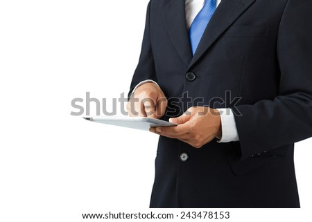 Businessman using tablet on white background