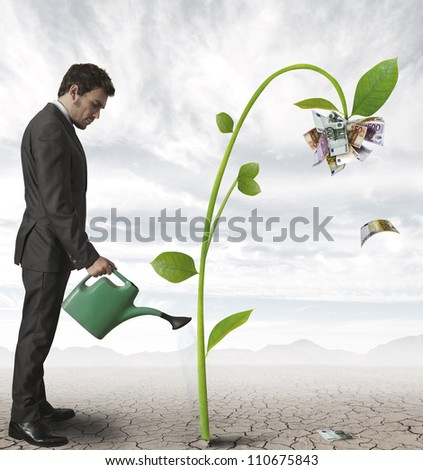 Businessman watering a plant that produces money