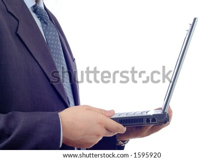 Businessman with a laptop computer