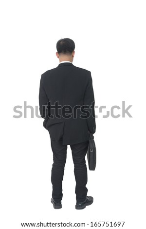 businessman with briefcase over white