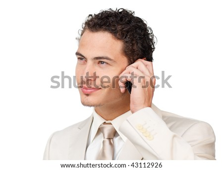 businessman with headset on looking up against a white background