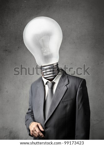 Businessman with light bulb instead of his head