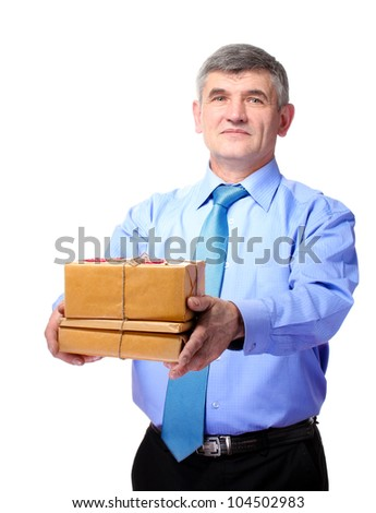 businessman with parcels boxes isolated on white