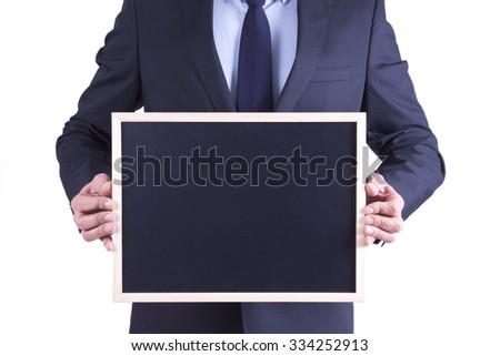 businessman with slate