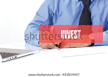BUSINESSMAN WORKING OFFICE  INVEST COMMUNICATION SPEECH BUBBLE CONCEPT