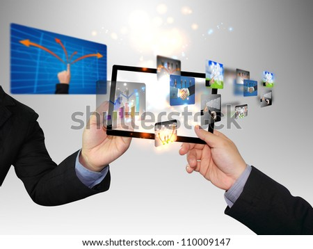 Businessman writing social media