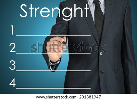 businessman writing strenght