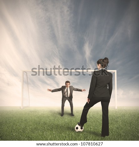 Businessmen and businesswoman compete in the field to protect their business