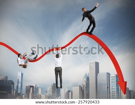 Businessmen falling down toward the economic crisis