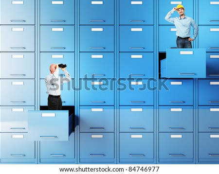 businesspeople in 3d file cabinet drawer
