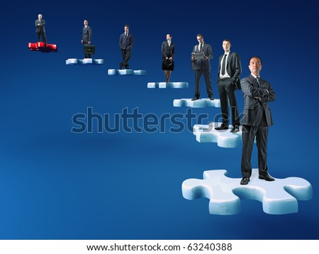 businesspeople on jigsaw stair selective background