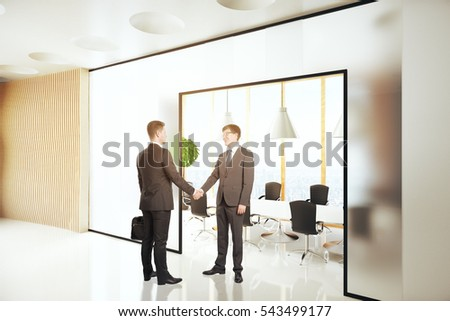 Businesspeople shaking hands in modern conference room interior. 3D Rendering