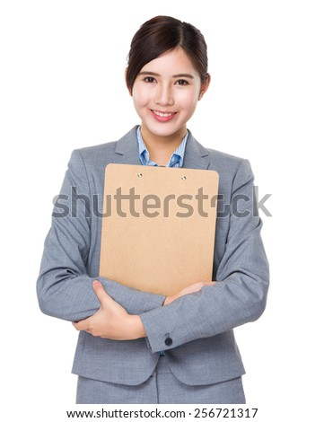 Businesswoman hold with clipboard