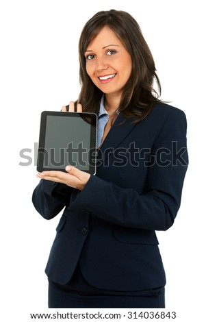 Businesswoman holding a tablet. Isolated on white background